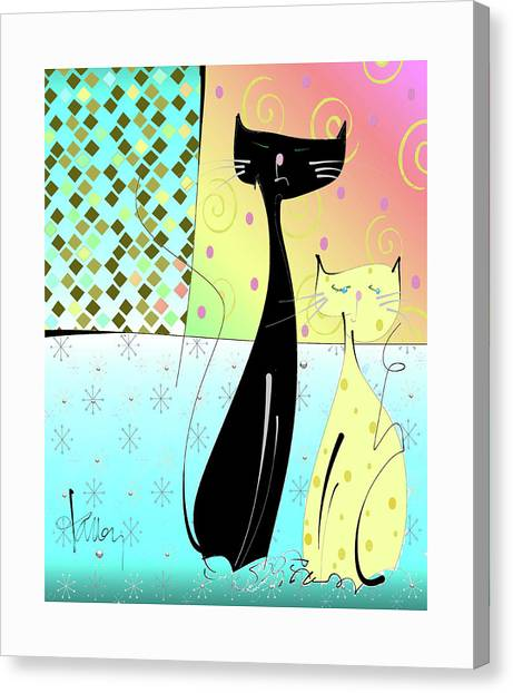 Canvas Print featuring the mixed media Cattitude by Larry Talley