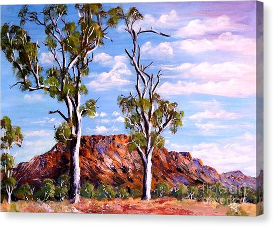 Twin Ghost Gums Of Central Australia Canvas Print