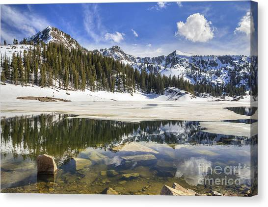 Twin Lakes Reservoir Melting Ice Canvas Print