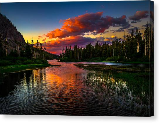 Lake Sunsets Canvas Print - Twin Lakes Sunset Mammoth Lakes California by Scott McGuire