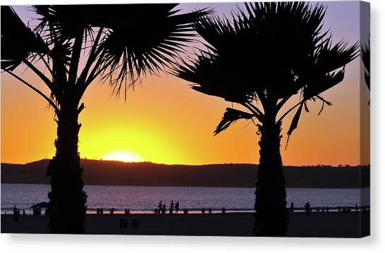 Twin Palms At Sunset Canvas Print