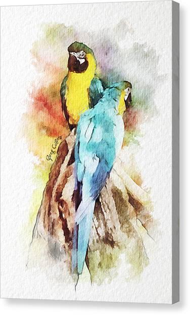 Twin Parrots Canvas Print