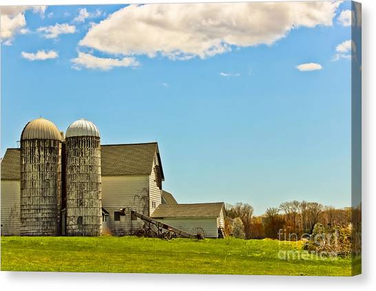 Timeworn Canvas Print - Twin Silos by Colleen Kammerer