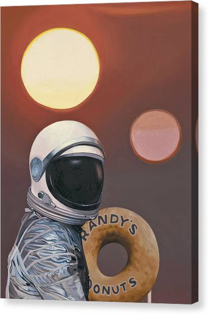 Astronauts Canvas Print - Twin Suns And Donuts by Scott Listfield