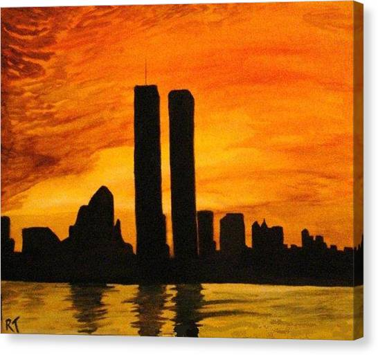 Twin Towers Silhouette Canvas Print