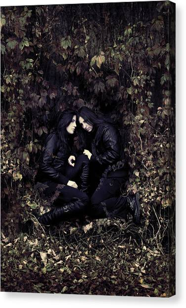 Gothic Art Canvas Print - Twins by Cambion Art