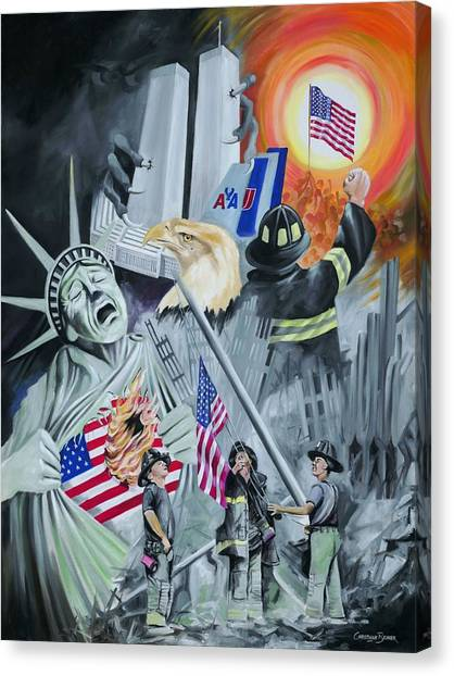 Twin Towers 911 New York Canvas Print by Christiaan Bekker