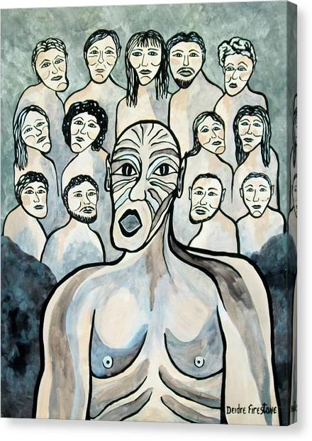 Twisted Faces Of The Torn And Demented Canvas Print by Deidre Firestone
