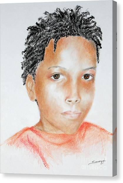 Twists, At 9 -- Portrait Of African-american Boy Canvas Print