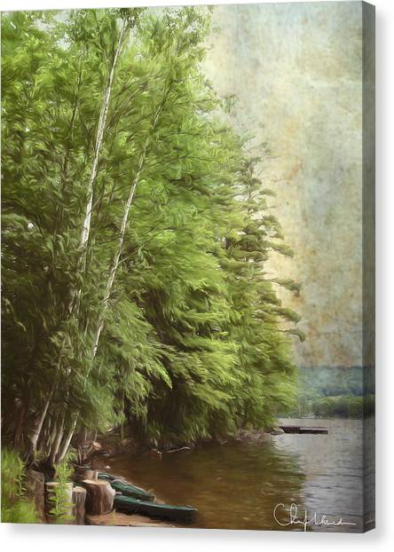 Canvas Print featuring the digital art Two Birches by Christopher Meade