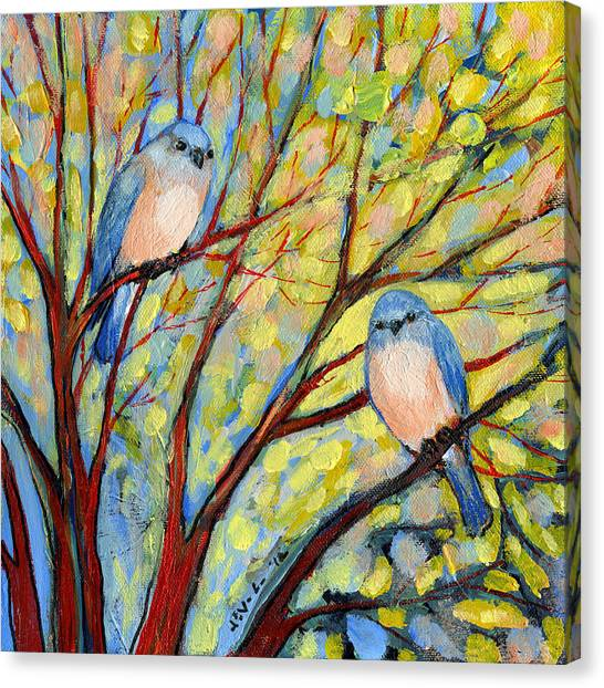 Spring Trees Canvas Print - Two Bluebirds by Jennifer Lommers