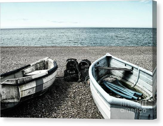 Two Boats On Seaford Beach Canvas Print