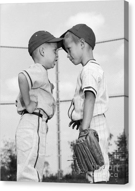 Different Opinions Canvas Print - Two Boys Playing Baseball Arguing by H. Armstrong Roberts/ClassicStock