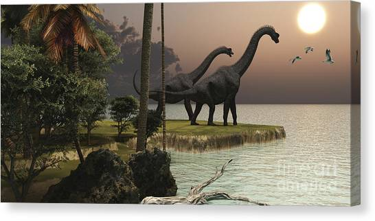 Brachiosaurus Canvas Print - Two Brachiosaurus Dinosaurs Enjoy by Corey Ford