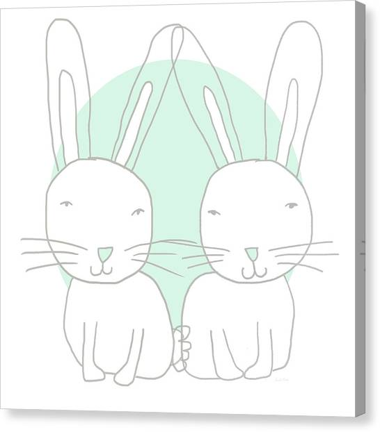 Easter Bunny Canvas Print - Two Bunnies- Art By Linda Woods by Linda Woods