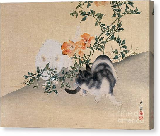 Hibiscus Canvas Print - Two Cats by Japanese School
