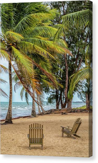 Two Chairs In Belize Canvas Print