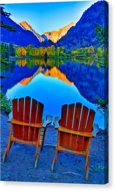 Colorado Rockies Canvas Print - Two Chairs In Paradise by Scott Mahon