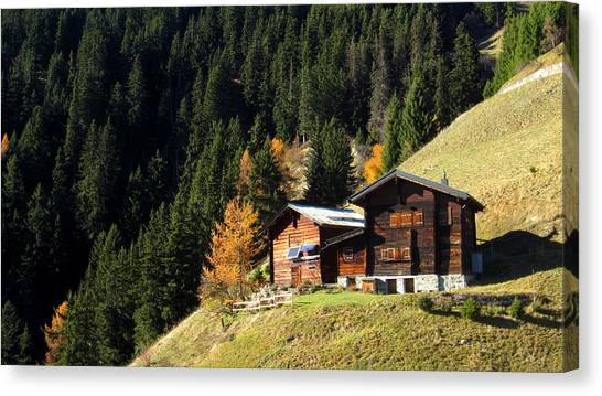 Two Chalets On A Mountainside Canvas Print