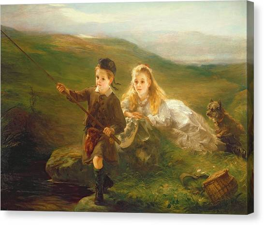 Angling Canvas Print - Two Children Fishing In Scotland   by Otto Leyde