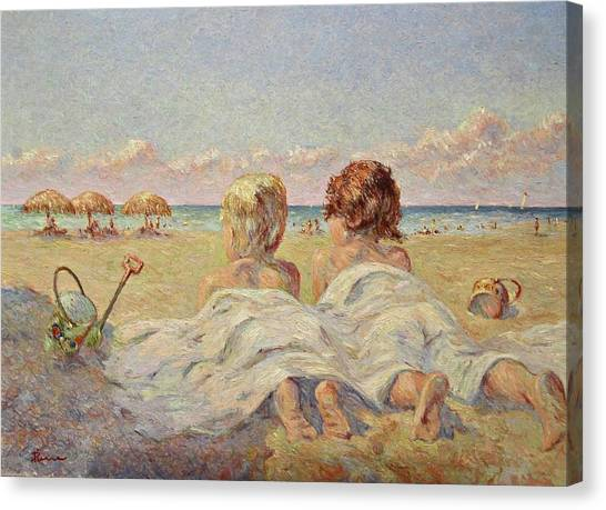Two Children On The Beach Canvas Print