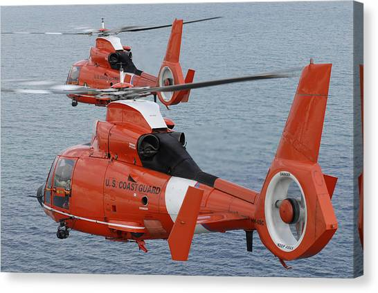 Medivac Canvas Print - Two Coast Guard Hh-65c Dolphin by Stocktrek Images