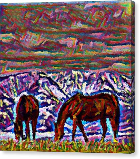 Canvas Print - Two Colorful Horses by Modern Art