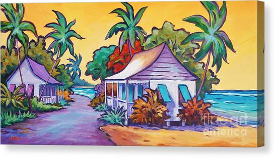 Tropical Stain Glass Canvas Print - Two Cottages by John Clark