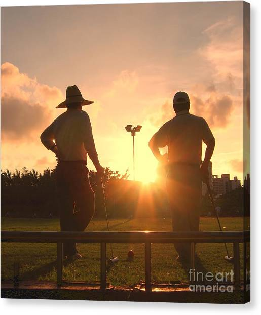 Two Croquet Players Canvas Print