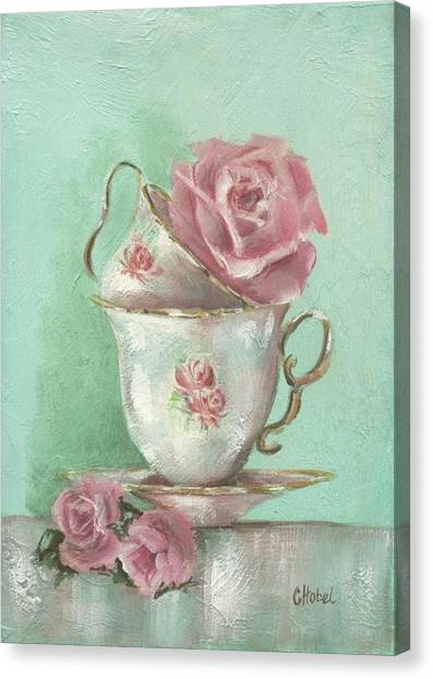 Two Cup Rose Painting Canvas Print