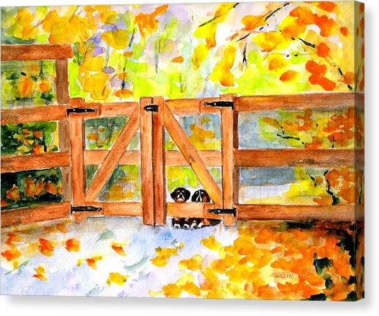 Bernese Mountain Dogs Canvas Print - Two Cute Dogs Waiting by Carlin Blahnik CarlinArtWatercolor