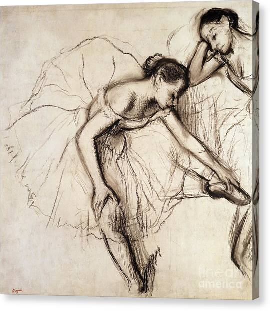 Ballerina Canvas Print - Two Dancers Resting by Edgar Degas