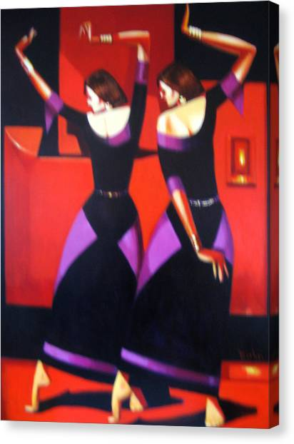 Two Dancers With Candlelight Canvas Print by Ihab Bishai