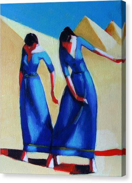 Two Dancers With Three Pyramids Canvas Print by Ihab Bishai