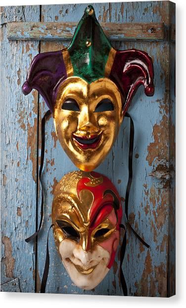 Mardi Gras Canvas Print - Two Decortive Masks by Garry Gay