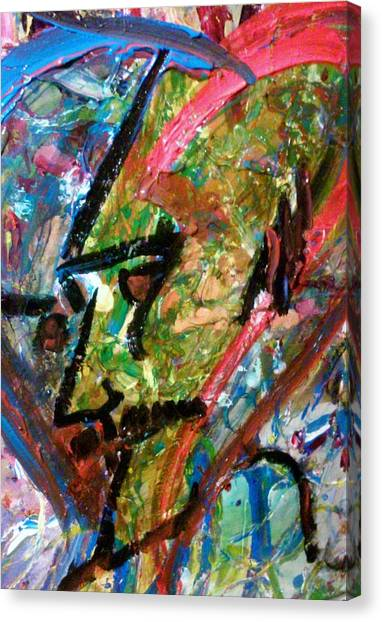 Canvas Print featuring the painting Two Dimenssional Head by Ray Khalife