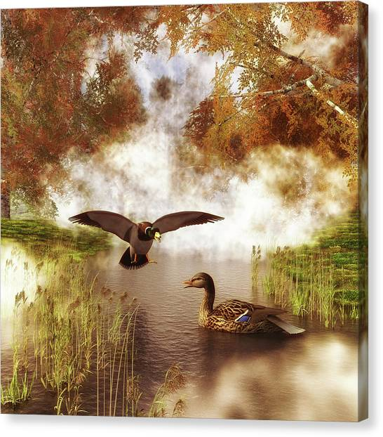 Canvas Print featuring the painting Two Ducks In A Pond by Jan Keteleer