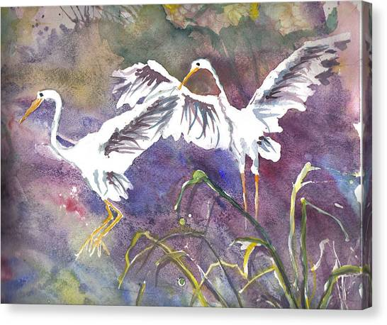 Two Egrets Canvas Print
