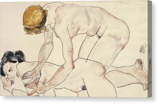 Signature Canvas Print - Two Female Nudes by Egon Schiele