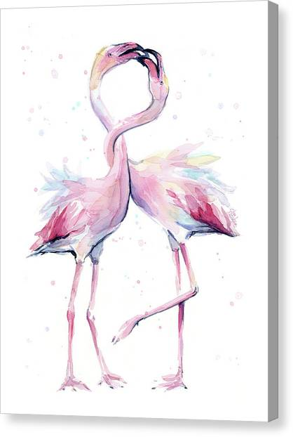Two Canvas Print - Two Flamingos Watercolor Famingo Love by Olga Shvartsur