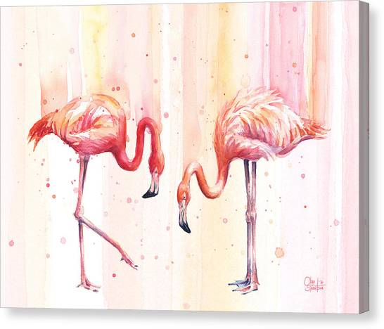 Flamingos Canvas Print - Two Flamingos Watercolor by Olga Shvartsur