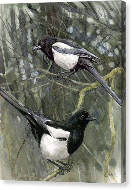 Magpies Canvas Print - Two For Joy by Chris Pendleton