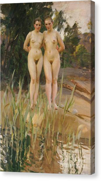 Nudes Canvas Print - Two Friends  by Anders Leonard Zorn
