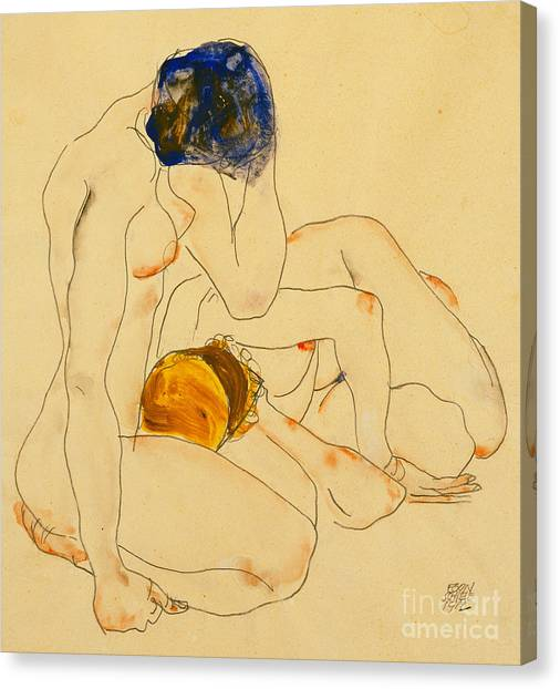 Sexuality Canvas Print - Two Friends by Egon Schiele
