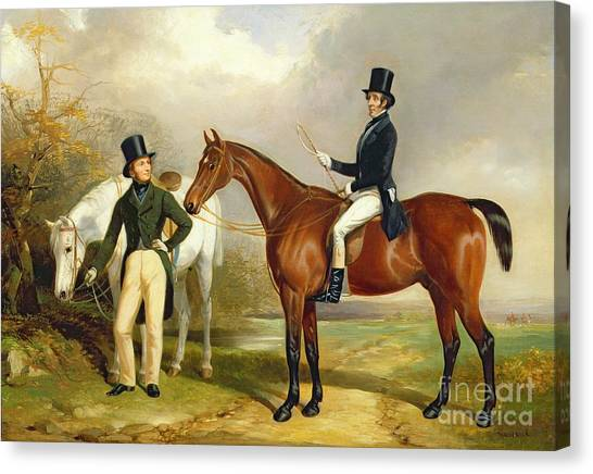 Gent Canvas Print - Two Gentlemen Out Hunting  by Henry Barraud