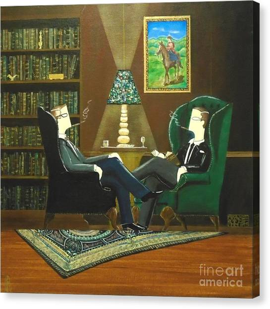 Two Gentlemen Sitting In Wingback Chairs At Private Club Canvas Print