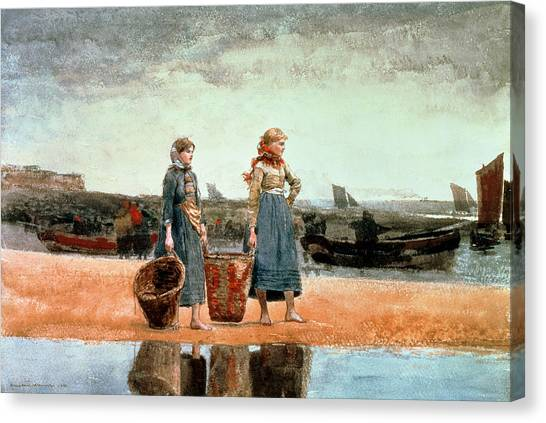 Waiting Girl Canvas Print - Two Girls On The Beach by Winslow Homer