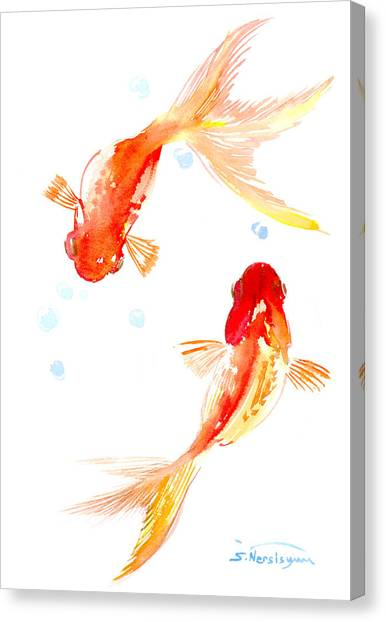 Two Goldfish Feng Shui Canvas Print