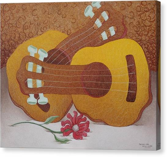 Two Guitars Canvas Print by S A C H A -  Circulism Technique