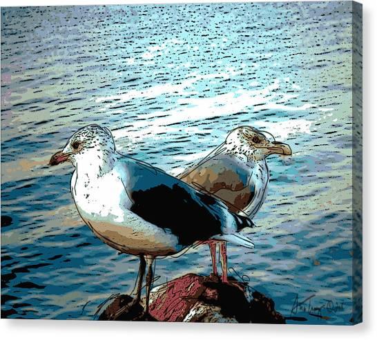 Two Gulls Canvas Print